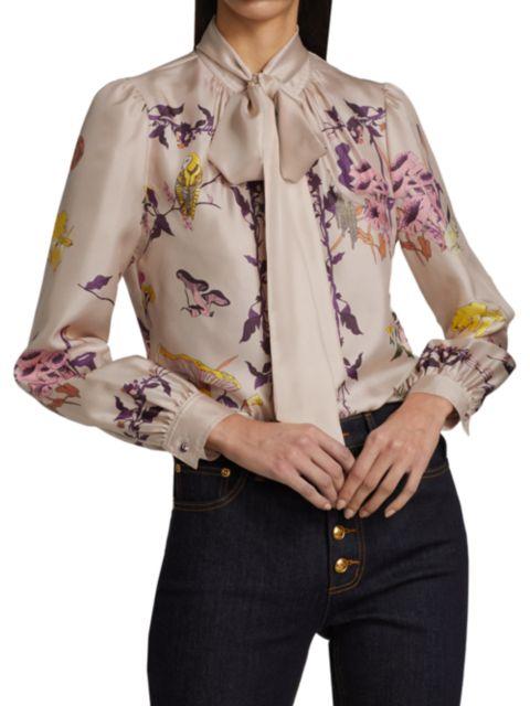 Tory Burch Printed Silk Tie-Neck Blouse | SaksFifthAvenue