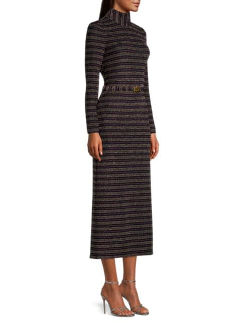 Tory Burch Striped Lurex Mockneck Dress   SaksFifthAvenue