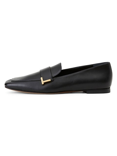Eve Square-Toe Leather Loafers