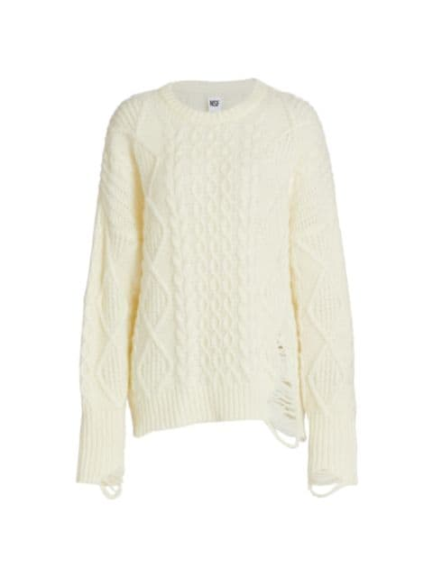 NSF Anabell Stretch-Wool Cable Knit Sweater | SaksFifthAvenue