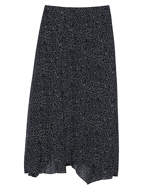Theory Dotted Silk Midi Skirt
