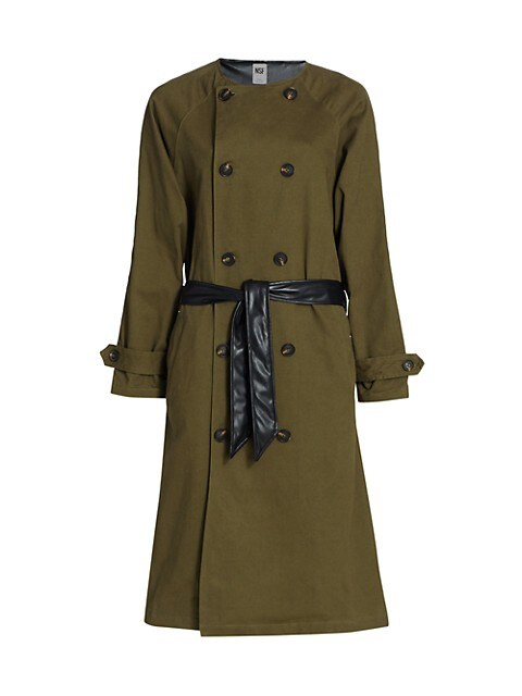 Gladys Contrast Faux Leather Belted Trench Coat