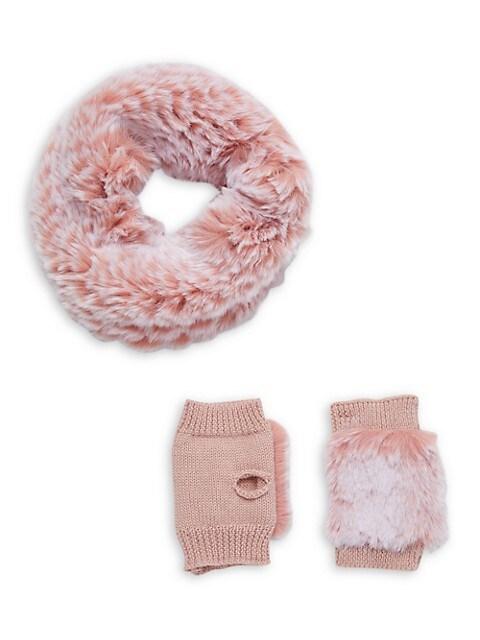 Kid's Faux Fur Snowtop & Mittens Set
