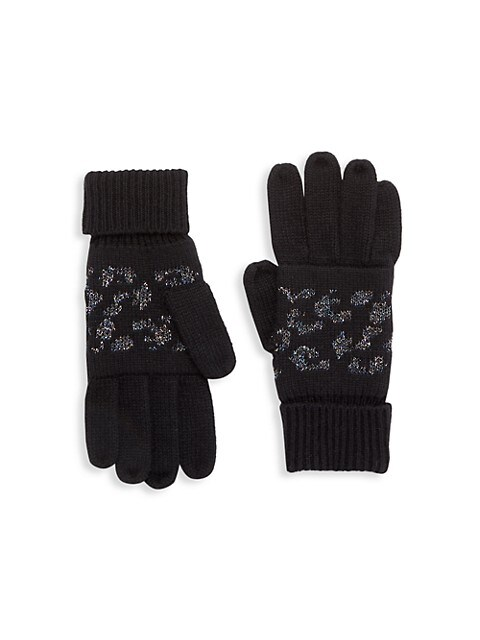 Kid's Metallic Leopard Jacquard Gloves