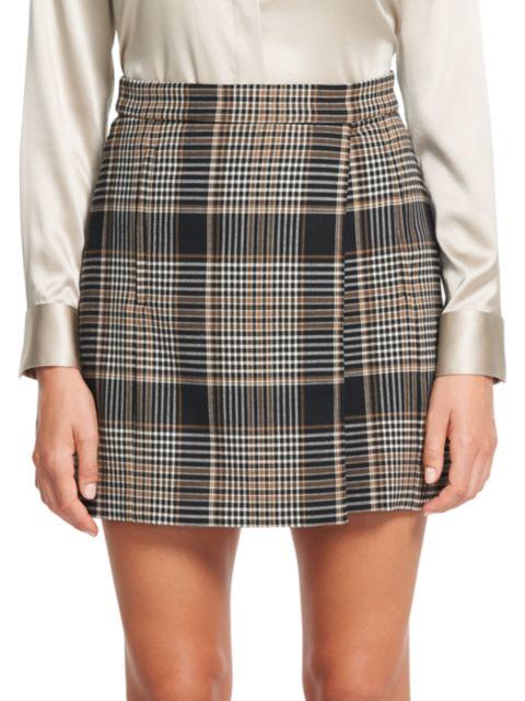 Theory Plaid Wrap Wool-Blend Mini Skirt   SaksFifthAvenue