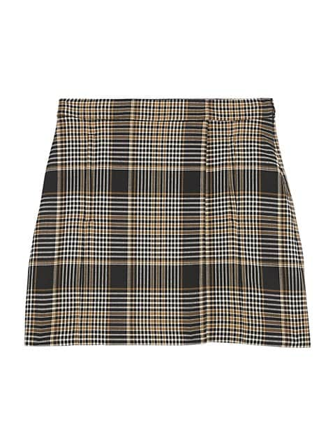 Theory Plaid Wrap Wool-Blend Mini Skirt