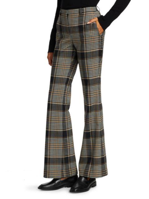 Theory Demitria Checkered Print Wide-Leg Wool-Blend Pants   SaksFifthAvenue