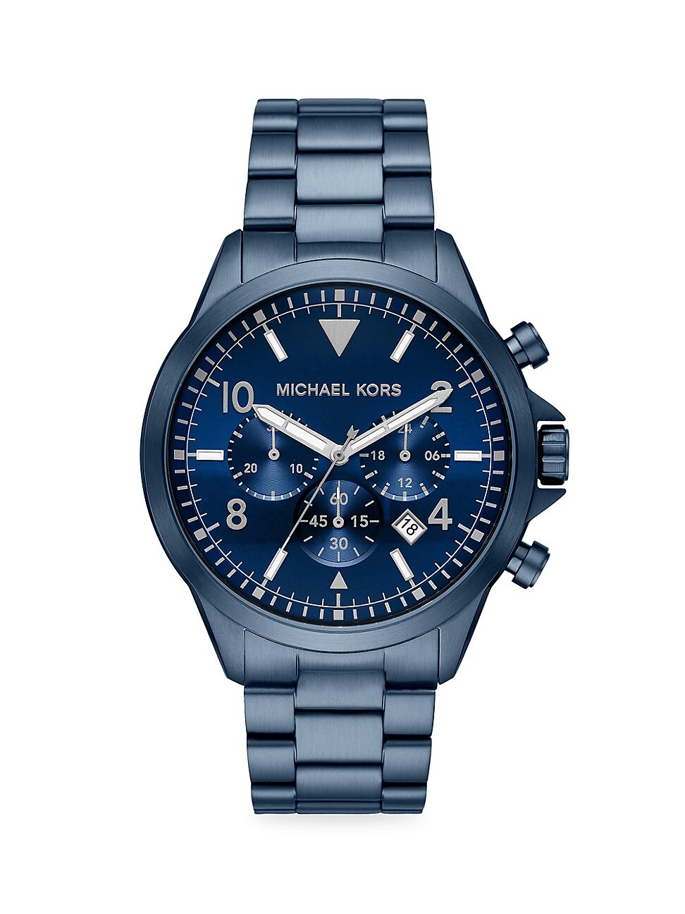 Michael Kors Men's Gage Navy Stainless Steel Bracelet Chronograph Watch