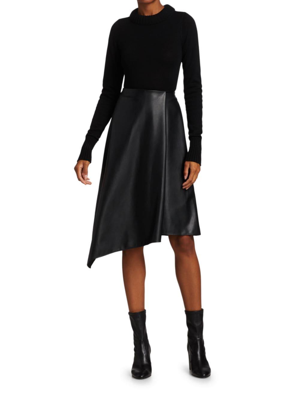 Alice + Olivia Jayla Vegan Leather Asymmetric Skirt | SaksFifthAvenue