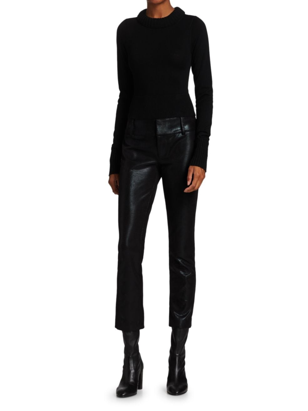 Alice + Olivia Stacey Vegan Leather Slim Cropped Pants | SaksFifthAvenue