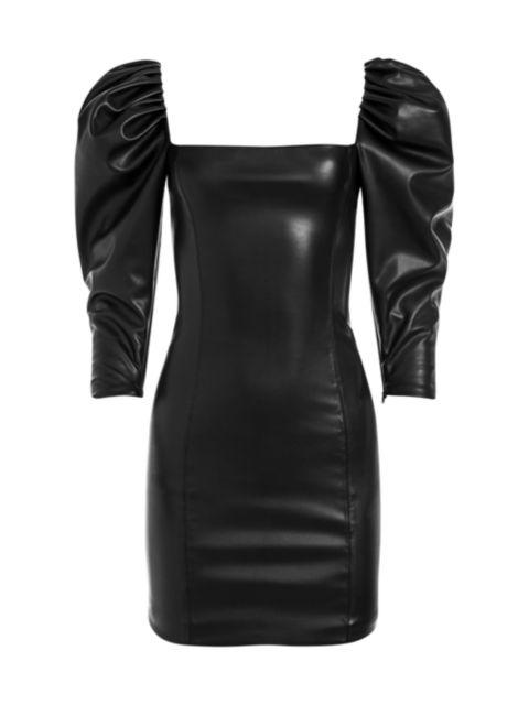 Alice + Olivia Frances Vegan Leather Puff-Sleeve Mini Dress   SaksFifthAvenue