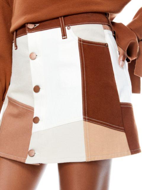 Alice + Olivia Jeans Good High-Rise Patchwork Mini Skirt   SaksFifthAvenue