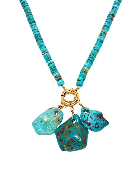 22K Goldplated & Turquoise Bead Nugget Charms Necklace