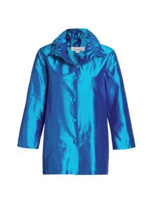 Caroline Rose Women's Silk Shantung Shirt In Turquoise
