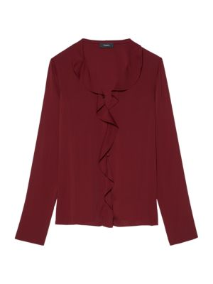 Theory Ruffled Silk-blend Crepe De Chine Blouse In Red