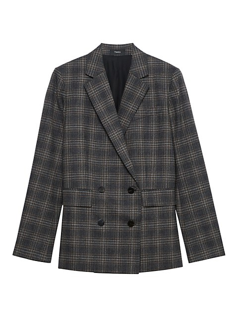 Theory Piazza Double-Breasted Plaid Wool-Blend Jacket