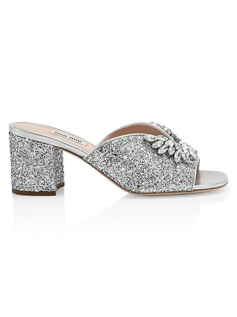 Jewelled Glitter Mules