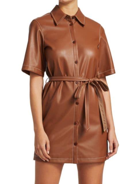 Staud Blaze Faux-Leather Belted Dress | SaksFifthAvenue