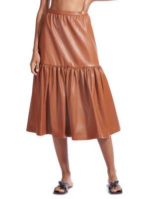 Staud Orchid Vegan Leather Tiered Midi Skirt
