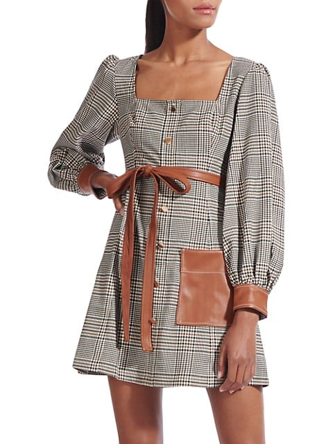 Oz Plaid Faux Leather-Trim Dress