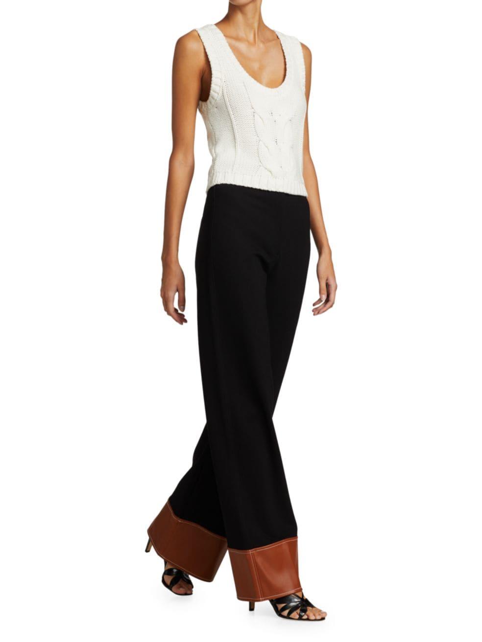 Staud Dime Vegan Leather-Trimmed Wide-Leg Pants | SaksFifthAvenue