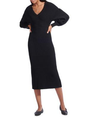 Staud Carnation Long Balloon-Sleeve Midi Sweater Dress