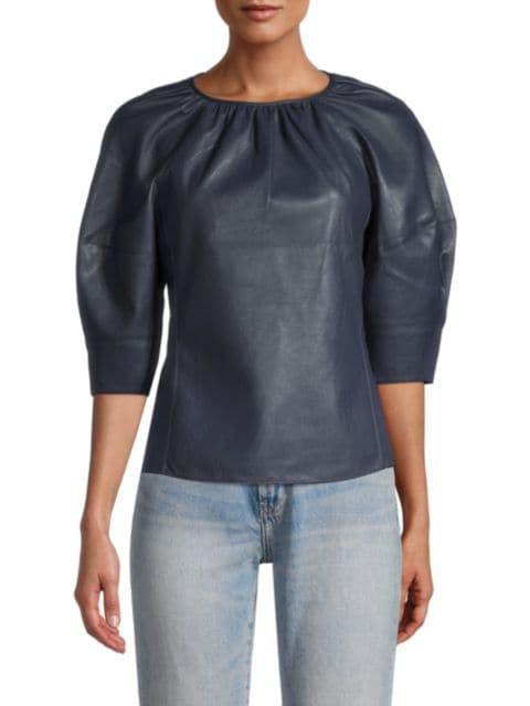 Rebecca Taylor Vegan Leather Three-Quarter Sleeve Top   SaksFifthAvenue