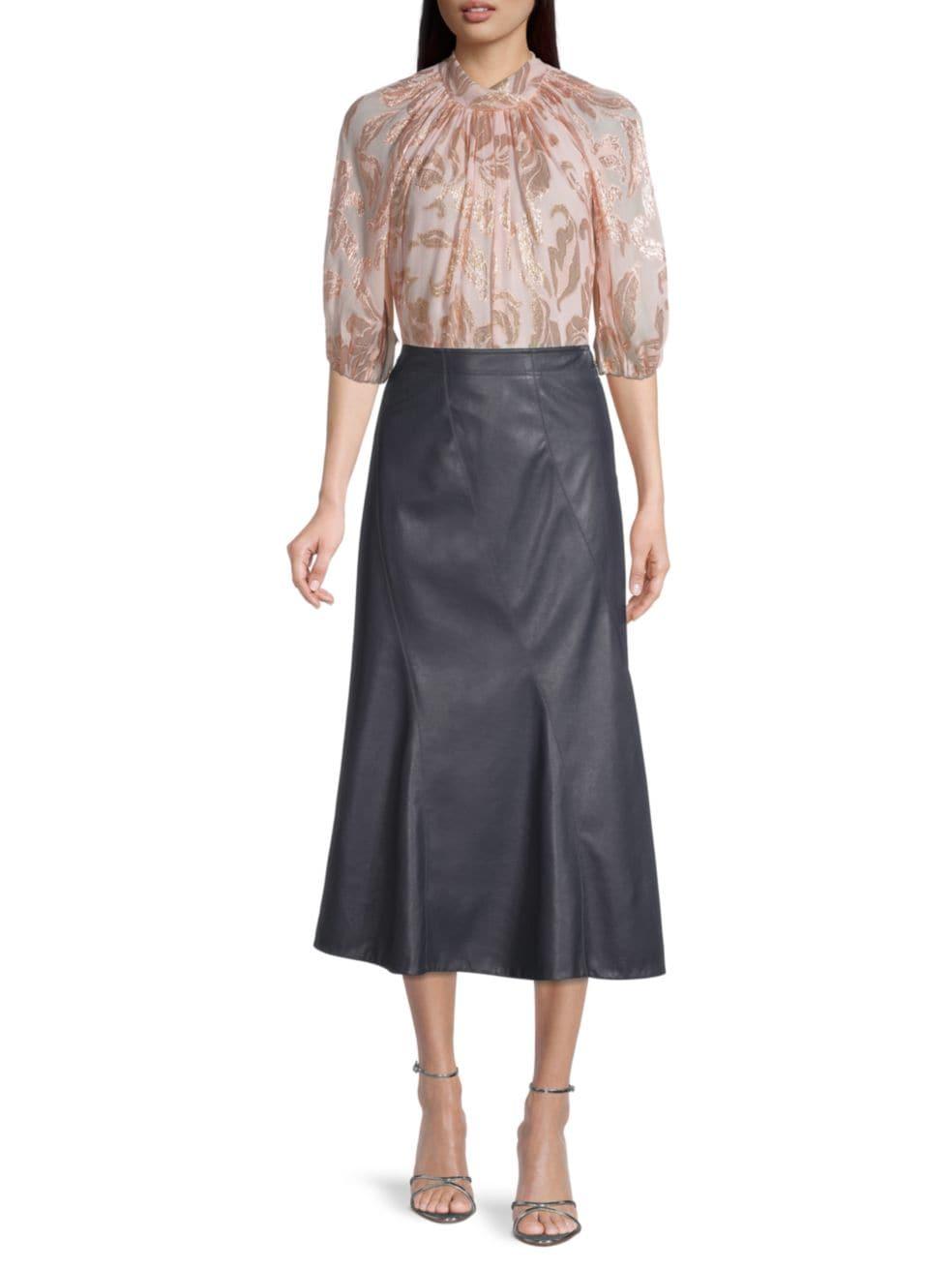 Rebecca Taylor Vegan Leather Midi Skirt | SaksFifthAvenue
