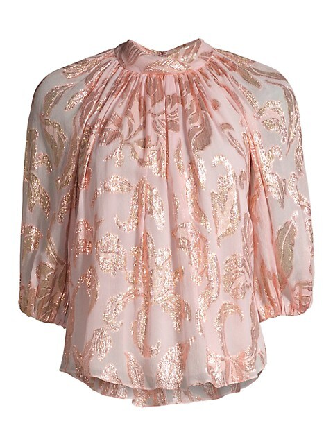 Rebecca Taylor Datura Floral Three Quarter Sleeve Blouse Saksfifthavenue