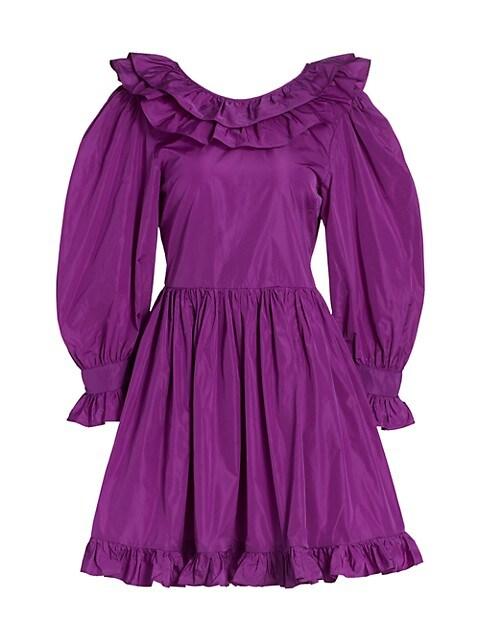 Ruffle Taffeta Mini Dress