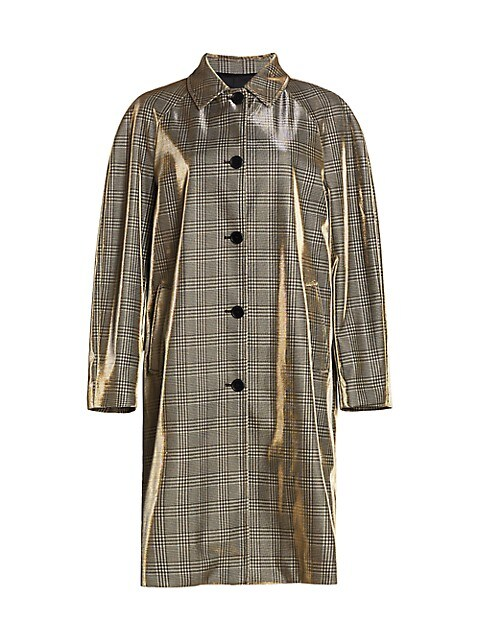 Shiny Prince Of Wales Check Trench Coat