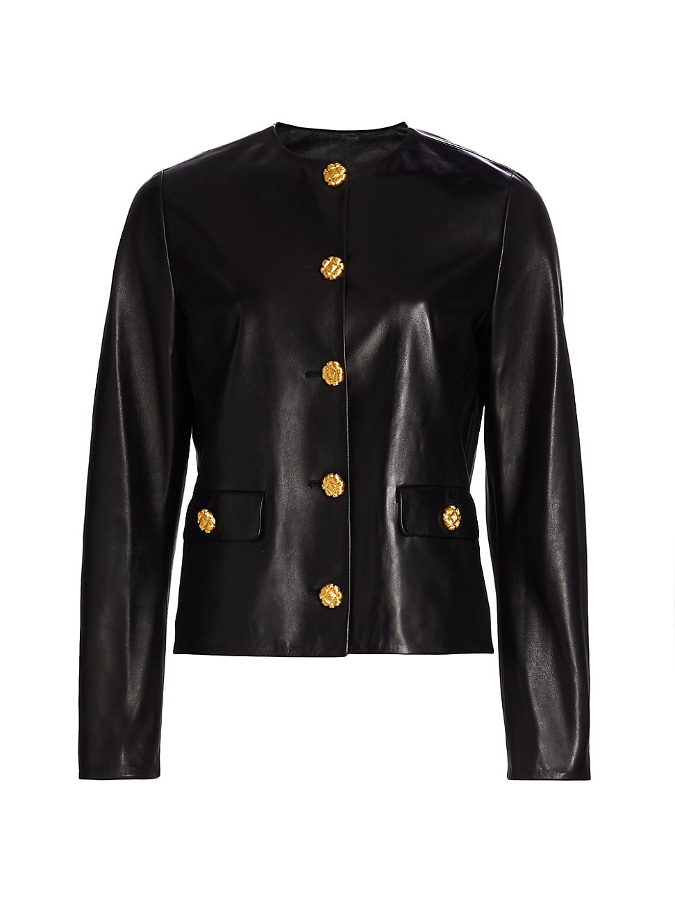 St. John WOMEN'S LEATHER BUTTON JACKET