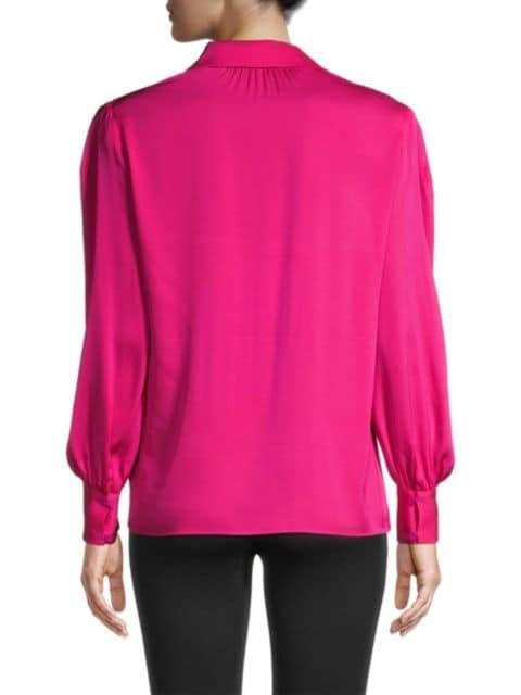 Milly Francia Puff-Sleeve Silk-Blend Blouse   SaksFifthAvenue