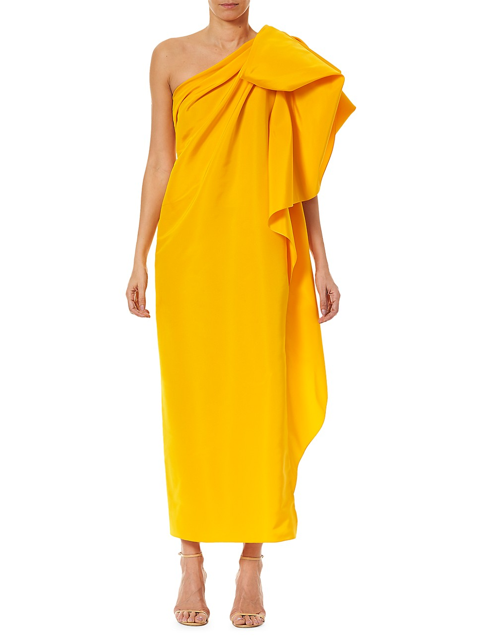 Carolina Herrera WOMEN'S DRAMATIC BOW ASYMMETRIC SILK GOWN