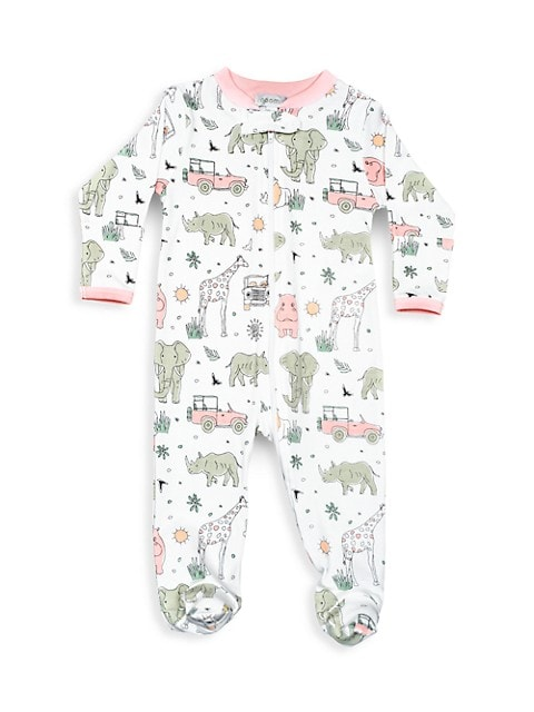 Baby Girl's Safari Zipper Footie