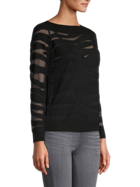 Milly Sheer Zebra Long-Sleeve Top | SaksFifthAvenue