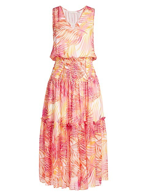 Denise Palm Print Silk Midi Dress