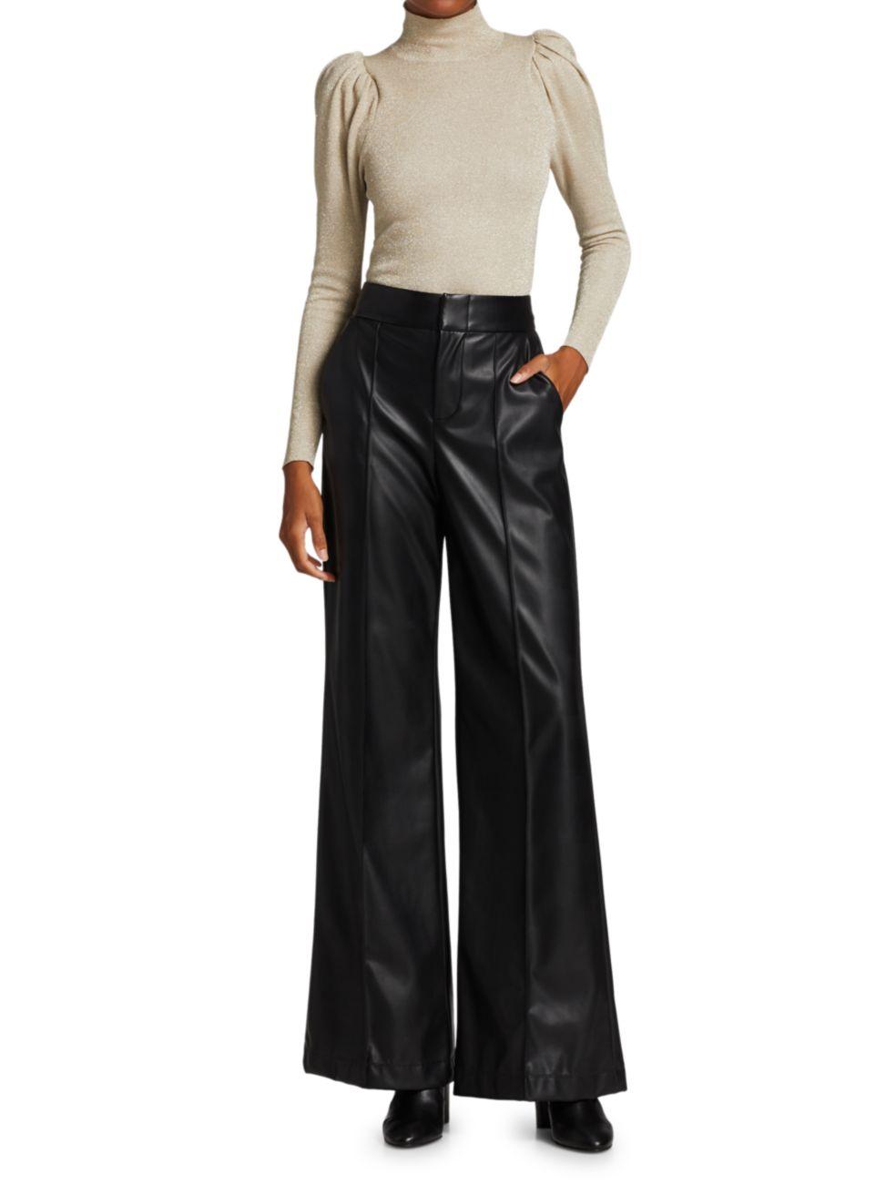 Alice + Olivia Dylan Vegan Leather Wide-Leg Pants | SaksFifthAvenue