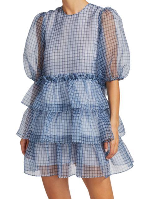 Ganni Puff-Sleeve Plaid Organza Dress | SaksFifthAvenue