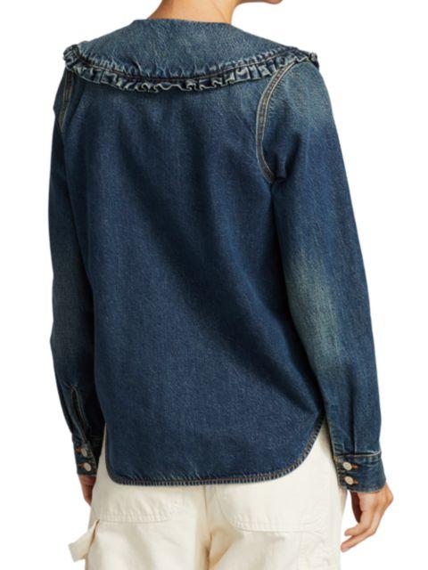 Ganni Ruffle-Collar Denim Shirt   SaksFifthAvenue