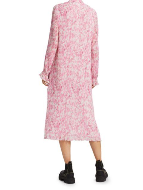Ganni Floral Plissé Georgette Dress   SaksFifthAvenue