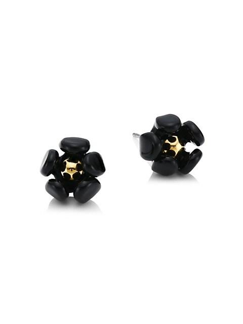 18K Goldplated & Acetate Buttercup Stud Earrings