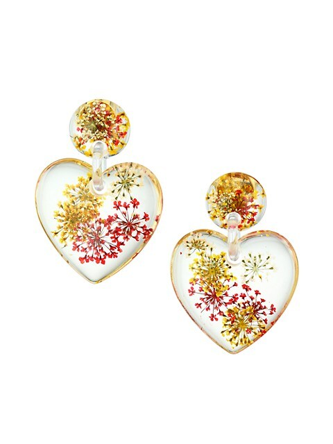Dried Floral Heart Drop Earrings