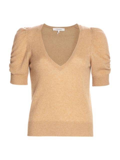 Frame Frankie Recycled Cashmere & Wool Puff-Sleeve Sweater | SaksFifthAvenue