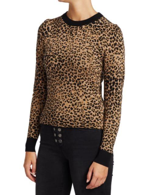 Frame Jacquard Cheetah-Print Wool-Blend Sweater | SaksFifthAvenue