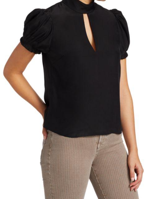 Frame Pleated Puff-Sleeve Silk Mockneck Top | SaksFifthAvenue