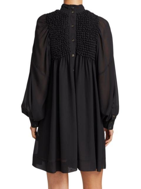 Ganni Smocked Chiffon Dress   SaksFifthAvenue