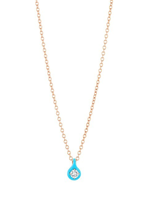 Diamonds in Color 18K Rose Gold, Diamond & Blue Ceramic Pendant Necklace