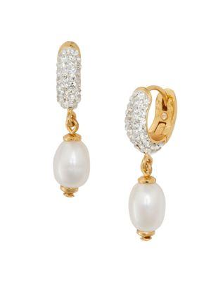 Kate Spade Glass Pearl & Pavé-Lined Huggie Drop Earrings