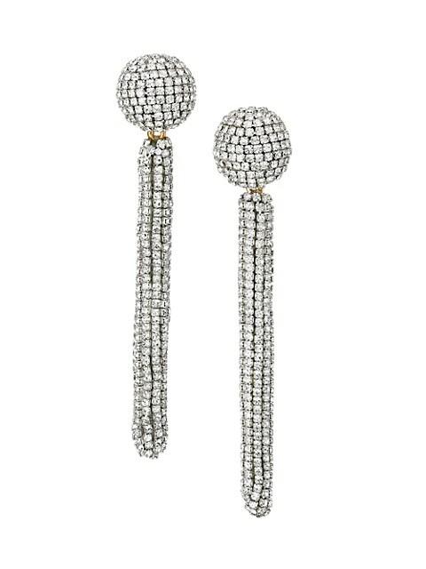 Pavé Embroidered Long Tassel Earrings